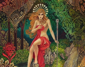Empress Tarot Goddess Miniature Altar Art Nouveau ACEO Pagan Mythology Psychedelic Bohemian Gypsy Goddess Art