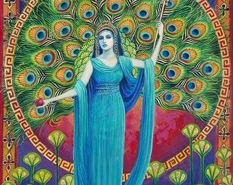 Goddess Art Hera The Greek Goddess of Marriage Original Acrylic Painting Pagan Art