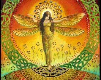 Dragonfly Goddess 11x14 Print Fine Art Print Pagan Mythology Bohemian Witch Celtic Fairy Goddess Art