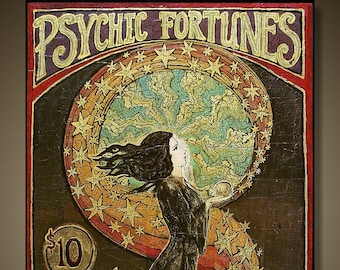 Psychic Fortunes Print 16x24 Art Nouveau Gypsy Circus Giclée Canvas Print Pagan Mythology Psychedelic Bohemian Goddess Art