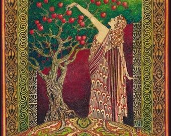 Idun The Norse Goddess of Youth 8x10 Giclée Canvas Print Pagan Mythology Art Nouveau Celtic Goddess Art