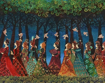 Twelve Women with Birds Sacred Grove 20x24 Poster Print Pagan Mythology Psychedelic Bohemian Gypsy Goddess Art
