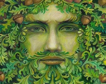 Oak King Green Man Pagan God Summer Solstice 16x20 Poster Print Pagan Mythology Goddess Art
