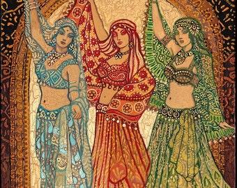 Sisterhood of the Silk Road 11x14 Fine Art Print Pagan Mythology Psychedelic Belly Dance Bohemian Gypsy Goddess Art