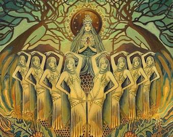 Bee Goddess Art Deco Pagan Honey Queen 11x14 Print Mythology Psychedelic Bohemian Gypsy Goddess Art