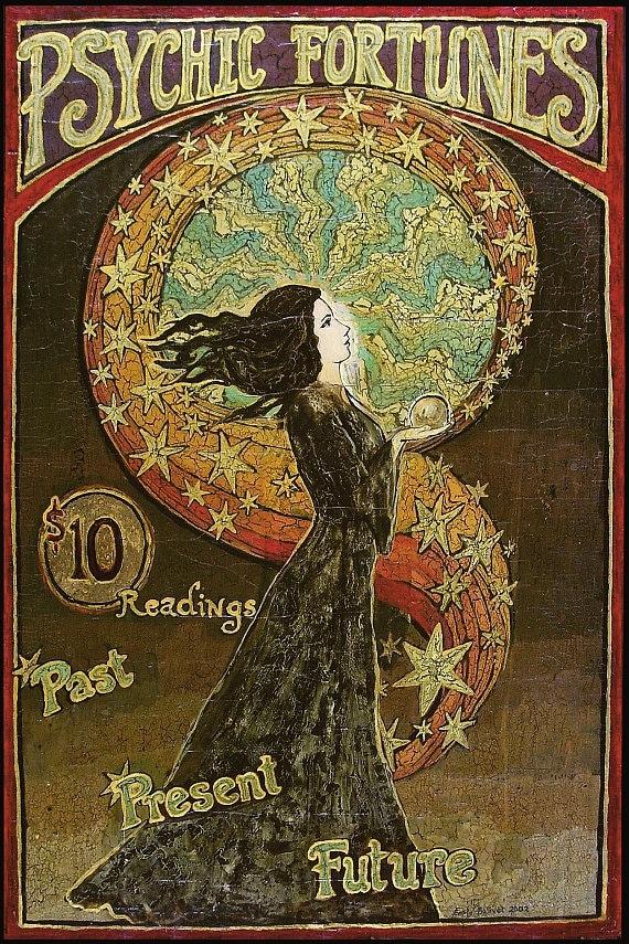 Psychic Fortunes Print Art Nouveau Gypsy Circus Poster 16x24 Pagan Mythology Psychedelic Bohemian Goddess Art