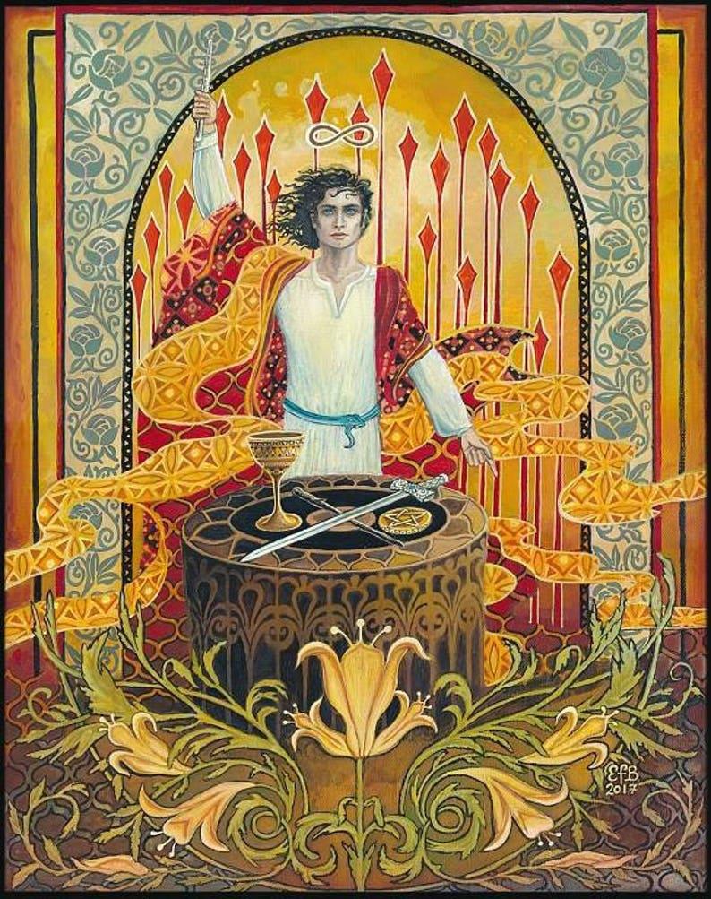 The Magician Tarot Art 20x24 Poster Print Psychedelic Art Nouveau Bohemian  Goddess Art
