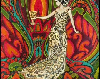 Queen of Cups Tarot Art 8x10 Print Psychedelic Gypsy Pagan Witch Mythology Goddess Art