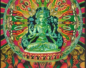 Guanyin Goddess of Compassion Original Acrylic Painting Psychedelic Goddess Art Kwan Yin