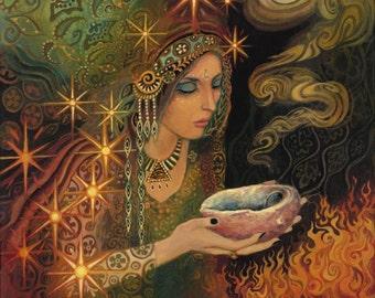 Sage Goddess 11x14 Poster Print Pagan Mythology Psychedelic Bohemian Gypsy Goddess Art