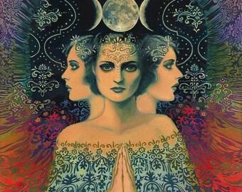 Moon Goddess of Mystery Psychedelic Tarot 16x20 Poster Print Bohemian Gypsy Art