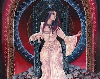 Persephone Queen of the Underworld 16x20 Giclée Fine Art Print on Canvas Pagan Mythology Bohemian Gypsy Witch Goddess Art