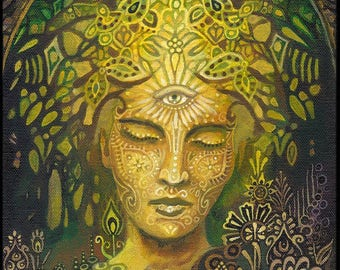 Sophia Goddess of Wisdom 20x24 Poster Fine Art Print Pagan Mythology Art Nouveau Psychedelic Green Forest Goddess Art