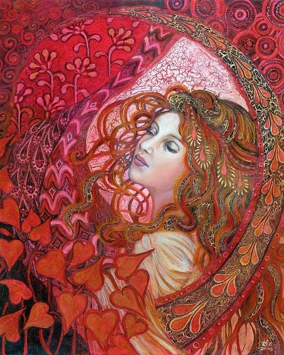Aphrodite 8x10 Fine Art Print Pagan Mythology Art Nouveau Love Goddess Psychedelic Bohemian Gypsy Goddess Art