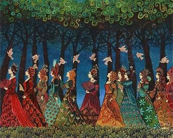 Twelve Women with Birds 20x24 Giclée Print on Canvas Fairytale Pagan Mythology Psychedelic Bohemian Gypsy Goddess Art