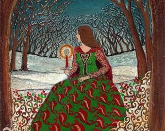 Solstice Queen 5x7 Greeting Card Fine Art Print Pagan Mythology Bohemian Yule Winter Solstice Goddess