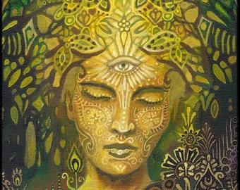 Sophia Goddess of Wisdom ACEO ATC Altar Art  Mini Print Fine Art Print Pagan Mythology Surreal Art Nouveau Green Goddess Art