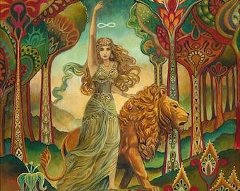 Strength Tarot Goddess Art Nouveau Deco 16x20 Poster Print Pagan Mythology Psychedelic Bohemian Gypsy Goddess Art
