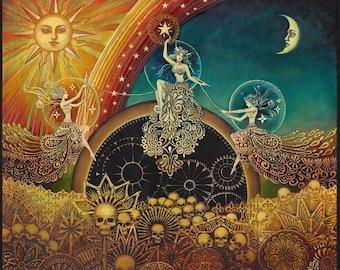 Three Fates Moirai Goddess Art 20x24 Poster Print Pagan Mythology Psychedelic Bohemian Gypsy Goddess Art