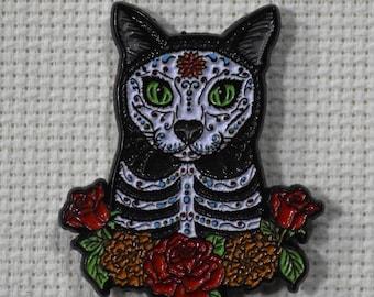 TigerPixie Art Day of the Dead Cat Needleminder