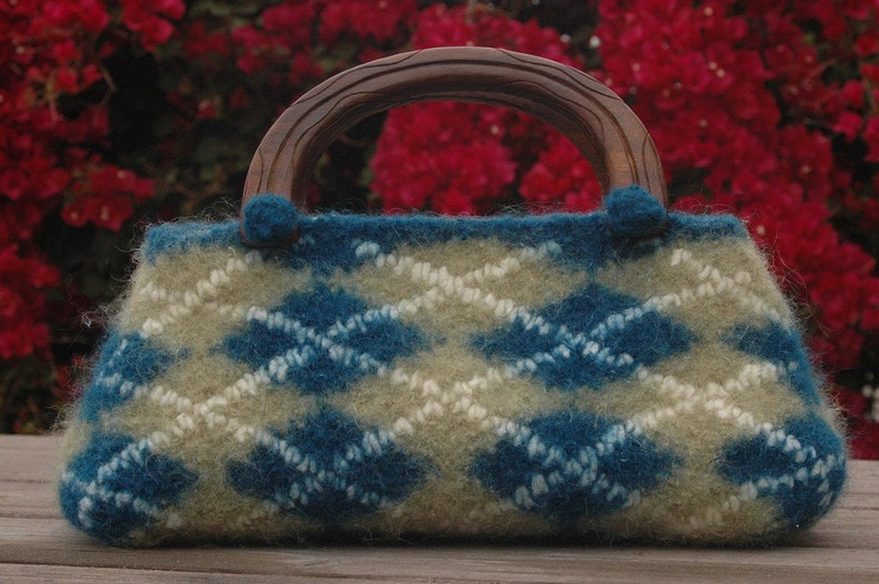 Refine School  Felted Argyle Tote Knitting Pattern Instant image 0