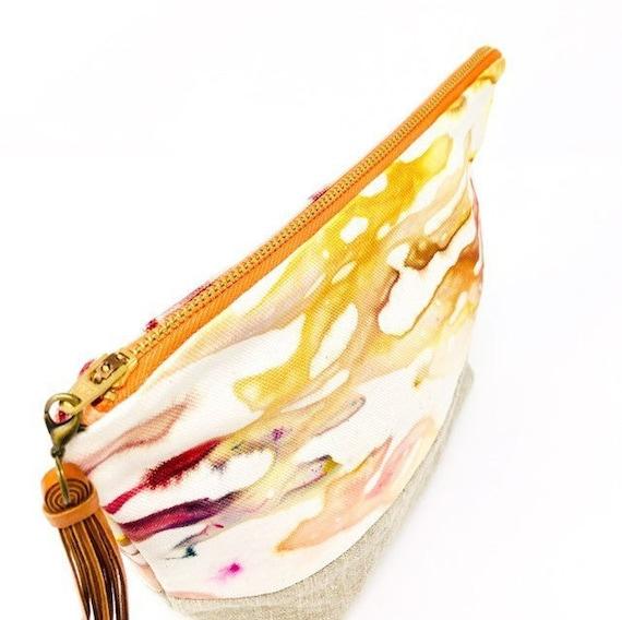 Valencia Hand Dyed Medium Organic Cotton Yellow Purple Orange Everyday Toiletries Travel Pouch Leather Tassel
