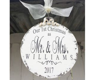 Our First Christmas Ornament | Mr and Mrs Ornament | Just Married Ornament | Personalized Ornament | Our 1st Christmas Ornament | Newlyweds