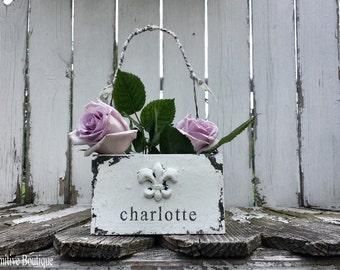Wooden FLOWER GIRL BASKET, Fleur De Lis, Vintage Wedding Decor, Shabby Chic Wedding, Rustic Wedding, Wood Flower Girl Basket