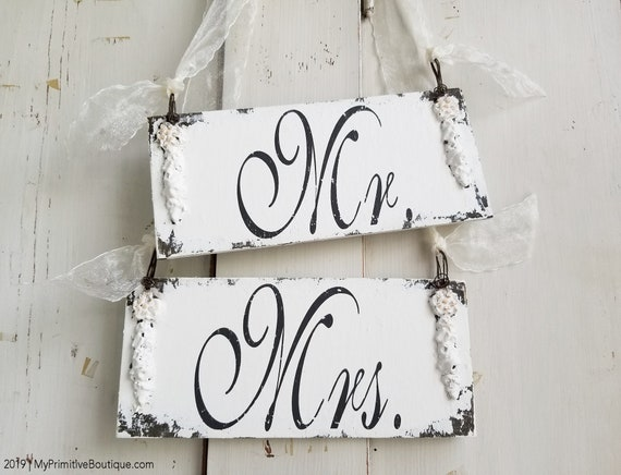 Mr Right Mrs Always Right Hanging WOODEN DOUBLE LAYER CHIC SHABBY HEART