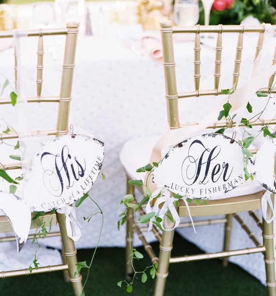 Mr And Mrs Wedding Chair Signs Her Lucky Fisherman His Etsy