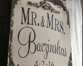 Personalized Name Sign, RING BEARER SIGN, Mr & Mrs Personalized Sign, Shabby Chic Sign, Vintage Inspired, Flower Girl Sign