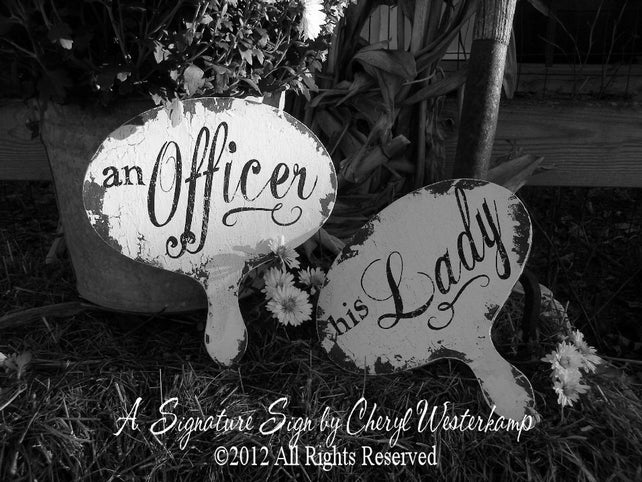 Wooden Wedding Signs | Military Wedding Decor | An Officer and His Lady | Military | Photo Props for Weddings | Rustic Wedding Fan | Shabby