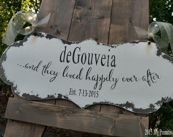 and they lived HAPPILY EVER AFTER Sign   Wedding Sign   Ring Bearer Sign   Flower Girl Sign   Sign with Handles   Aisle Sign   Distressed