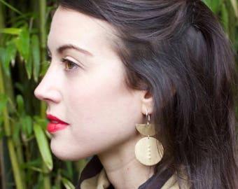 Statement Earrings, Bold Earrings, Geometric Shape Earrings, Brass, Sterling Silver Hooks, BECCA