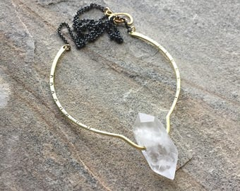 Crystal Point Necklace, Quartz Crystal, Pinnacle Necklace