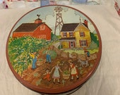 Vintage Down on the Farm Tin with Lid, barn, farmhouse, windmill, corn field, people, children, goat, fence, sky, clouds, trees