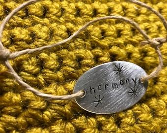 Harmony Affirmation Bracelet Hand Stamped