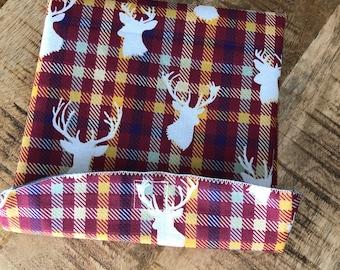 Deer Silhouette and Plaid  Reusable Sandwich Bag