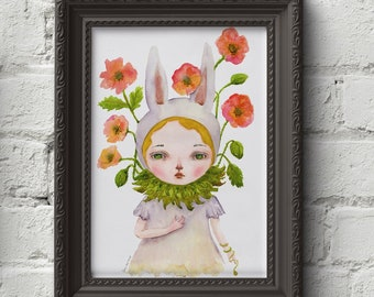 BUNNY WITH POPPIES - Danita's self portrait! A surreal pop painting with a beautiful rabbit girl surrounded by watercolor poppies and greens
