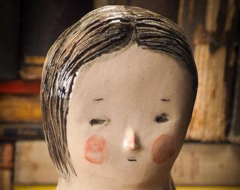 LOVELYSHORE Original handmade woman bust by Idania Salcido Danita Art, kiln fired and glazed ceramic decorative wall hanging object decor.