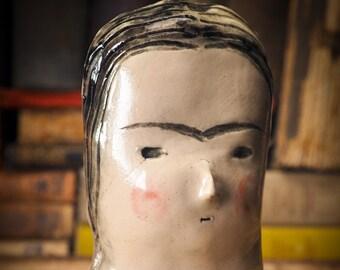 FRIDA KAHLO Original handmade woman bust by Idania Salcido Danita Art, kiln fired and glazed ceramic decorative wall hanging object decor.