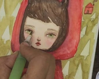 Sketching in the woods: Paint little red riding hood with Danita, using watercolors on location. Learn to use limited art supplies on the go