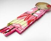PRETTY GIRL No.17 - Fabric brooch with pinback by Danita