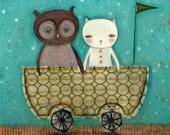 THE OWL AND THE PUSSYCAT - Mini Poster Repro From Original Folk Art Illustration by Danita (6x8 PRINT)