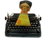 FRIDA KAHLO WITH BIRD - Handmade Art Doll by DANITA