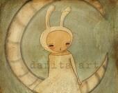 CONEJO EN LA LUNA  - Primitive Illustration 8x8 Inches Reproduction by DANITA