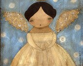 BECOMING AN ANGEL - Folk Art Primitive Original Collage Angel Girl Portrait (8x8 PRINT)