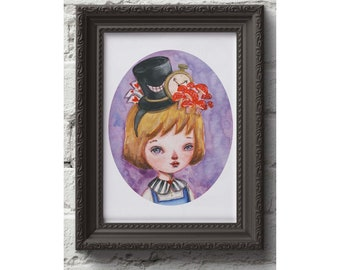 ALICE IN WONDERLAND by Danita is always on Alice's head. The white Rabbit, The Mad hatter and the queen in a surreal watercolor painting