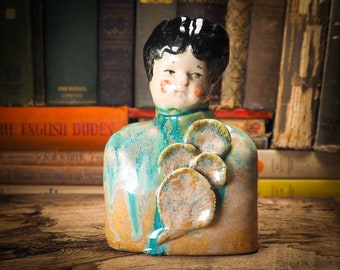 LITTLESAGE Original glazed ceramic flower pot / brush holder by Idania Salcido Danita Art. Great to keep your fine artist brushes organized.