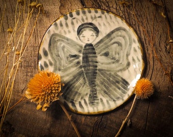 THE MOTH GIRL handmade original glazed fired ceramic plate by Idania Salcido Danita Art in outsider folk art style dessert plate.